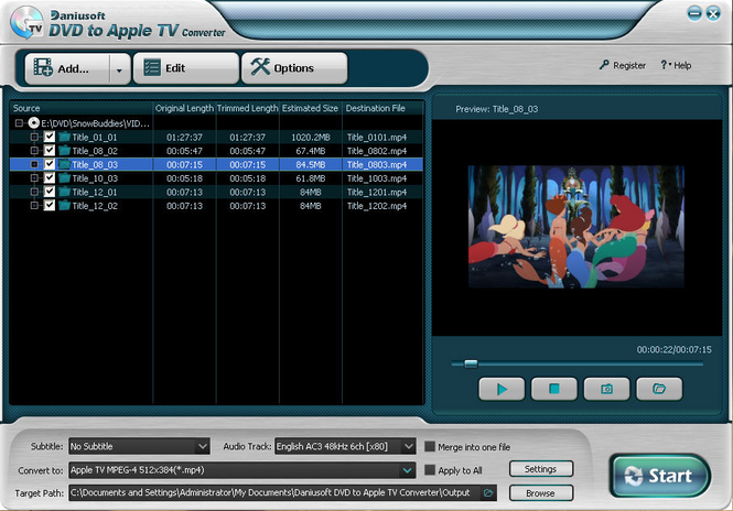 Daniusoft DVD to Apple TV Converter Screenshot 3