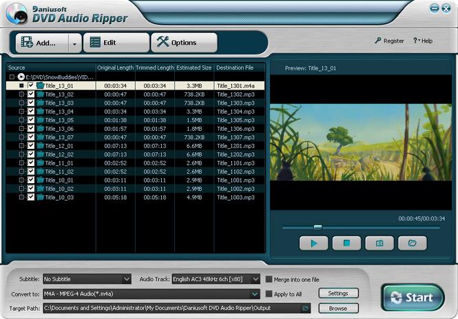 Daniusoft DVD Audio Ripper Screenshot