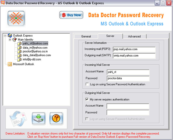 Outlook Express Password Unmask Screenshot