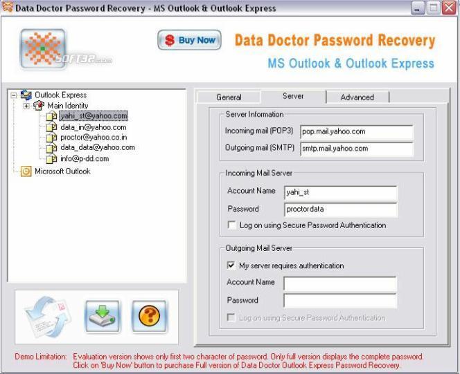 Outlook Express Password Unmask Screenshot 2