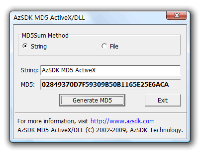 AzSDK MD5 ActiveX Screenshot
