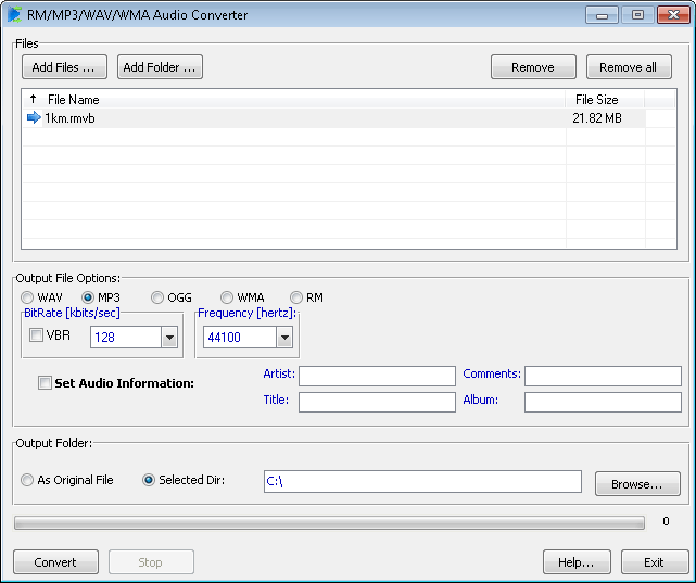 RM/MP3/WAV/WMA Audio Converter Screenshot