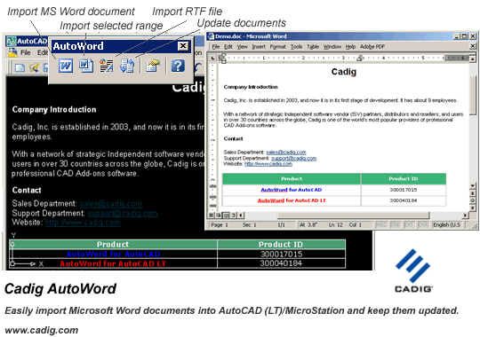 Microsoft Word to AutoCAD LT - AutoWord Screenshot