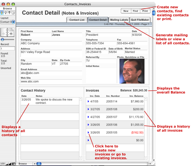 Contact - Invoice Database V.1 Screenshot