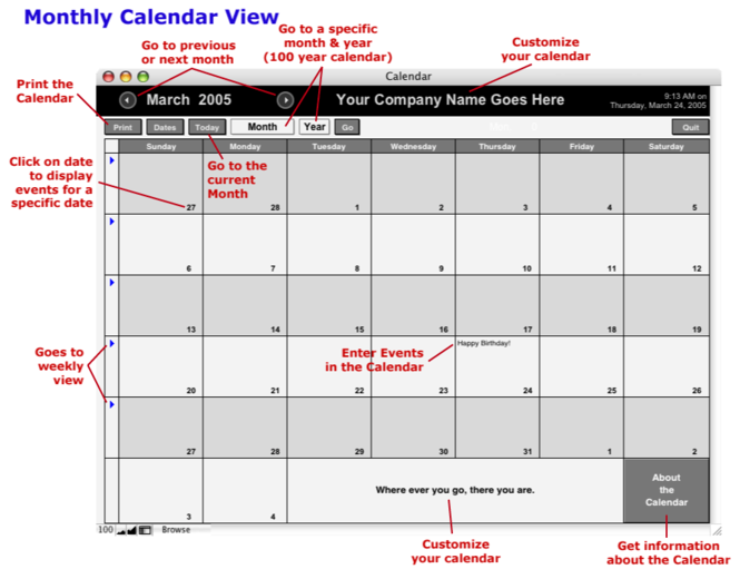 FileMaker Database Calendar Screenshot