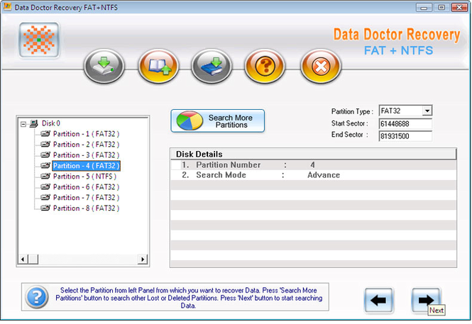 NTFS and FAT Partitions Restore Screenshot