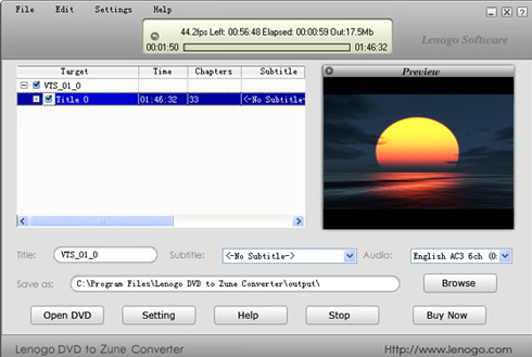 Lenogo DVD to Zune Converter Screenshot