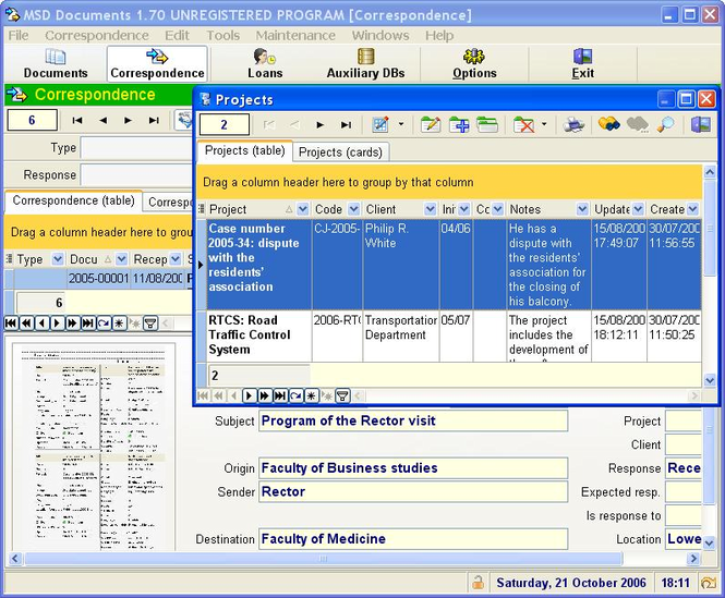 MSD Documents Screenshot