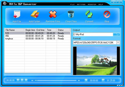 AVI To 3GP Converter Screenshot