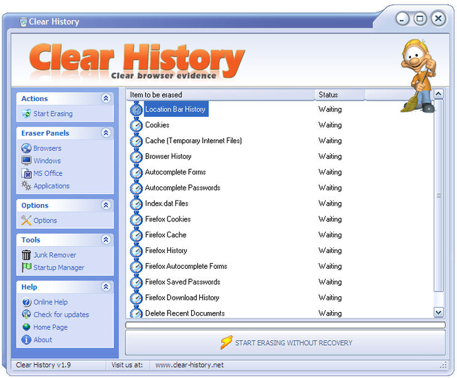 Clear History Screenshot