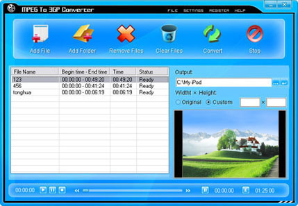 MPEG To 3GP Converter Screenshot
