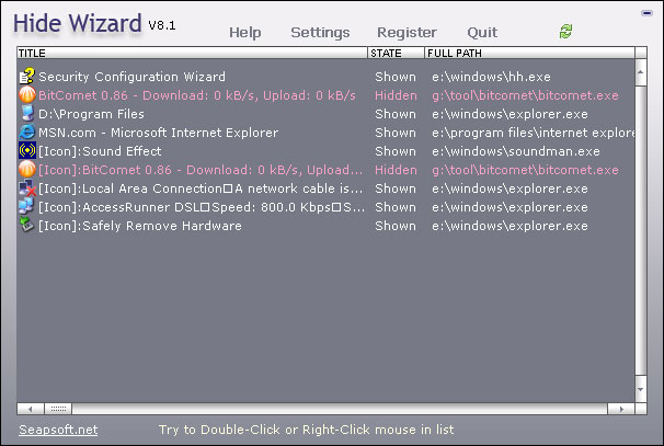 Hide Wizard-Hide windows and hide folder Screenshot