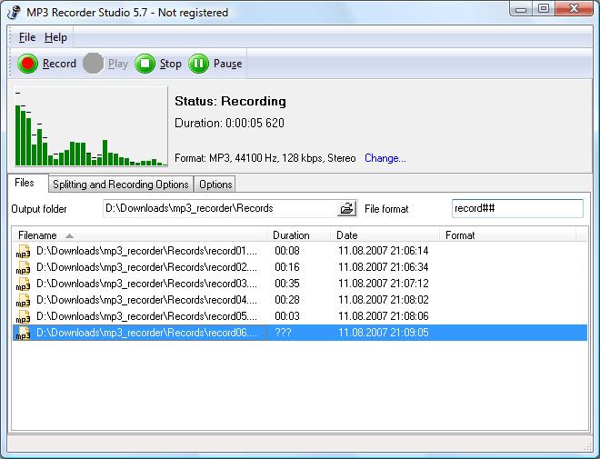 MP3 Recorder Studio Screenshot