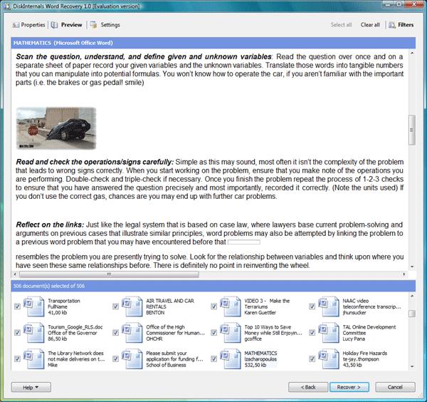 DiskInternals Word Recovery Screenshot