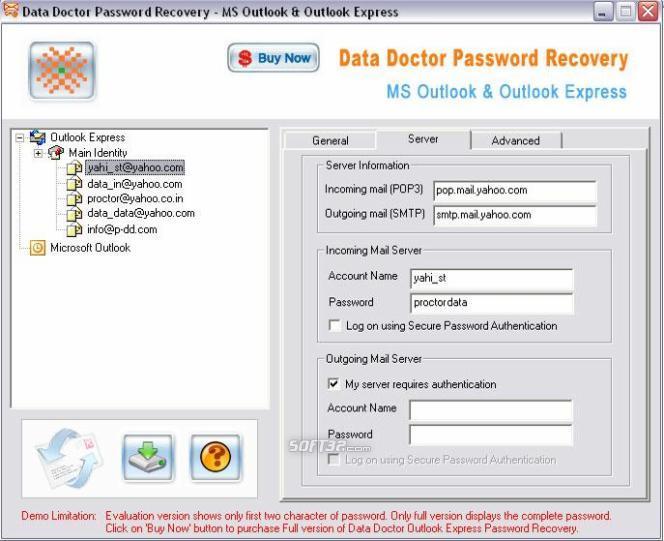 Outlook Express Password Viewer Screenshot 2