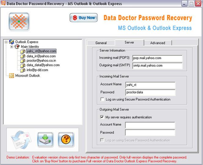 Outlook Express Password Viewer Screenshot 1