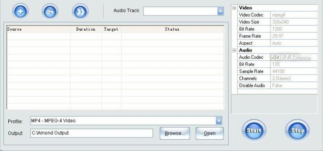 Amond DVD to WMV/MPEG/MOV/AVI/iPod/PSP/3GP/MP4/Zune Converter Screenshot