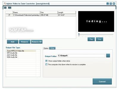 Aglare Video to Zune Converter Screenshot 3