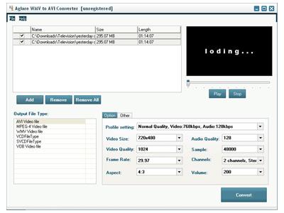 Aglare WMV to AVI Converter Screenshot
