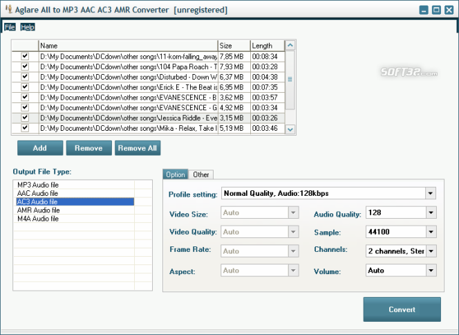 Aglare All to MP3 AAC AC3 AMR Converter Screenshot 3