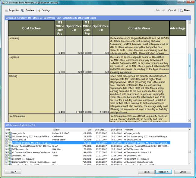 DiskInternals Excel Recovery Screenshot 1