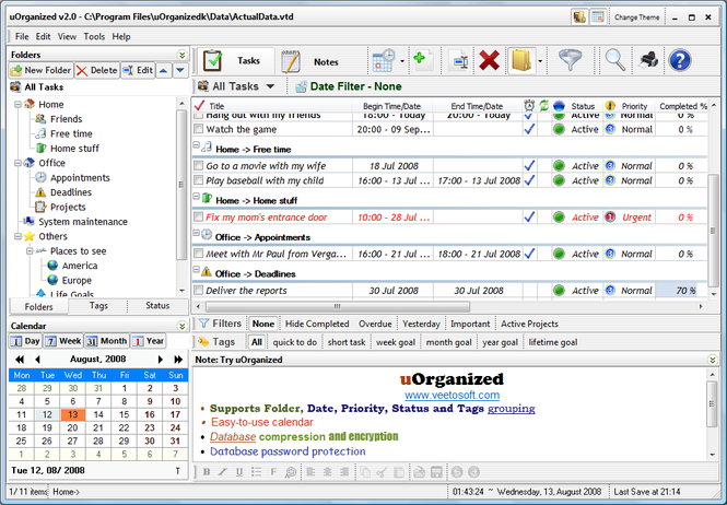uOrganized Screenshot