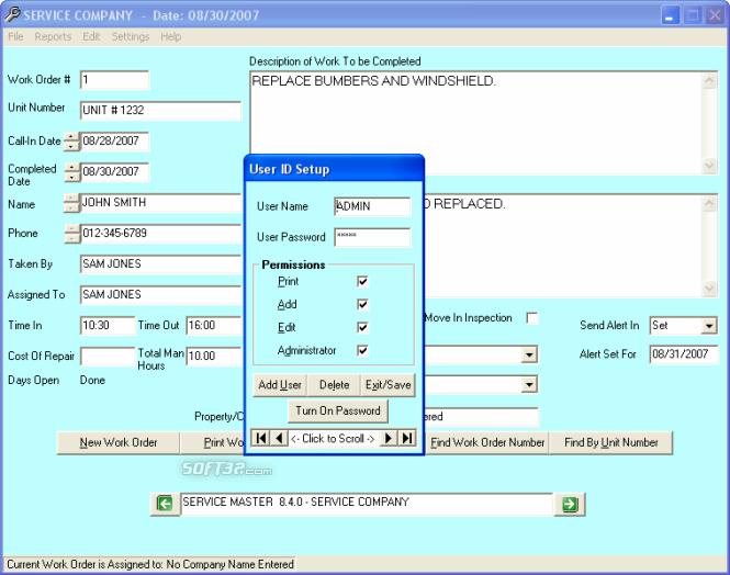Service Master Software Screenshot 4