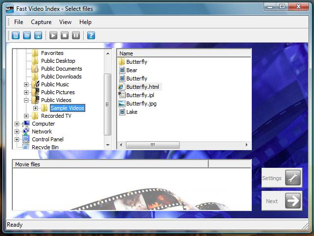 Fast video indexer Screenshot