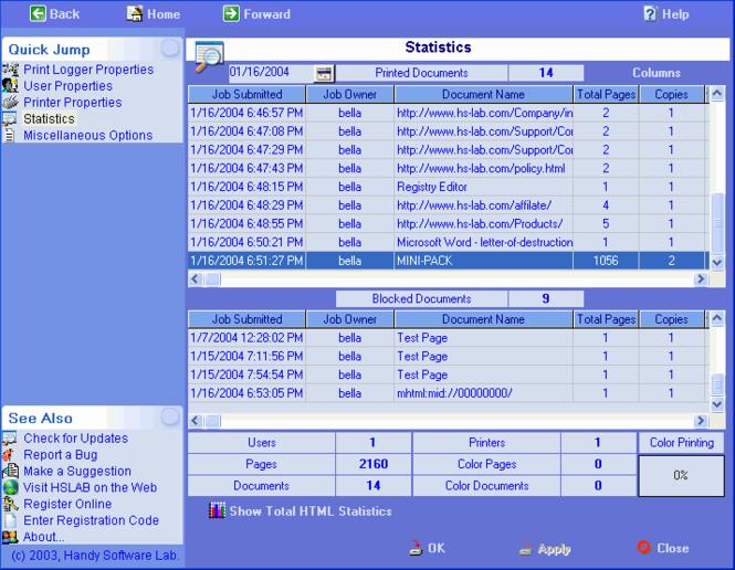 HSLAB Print Logger WE Screenshot