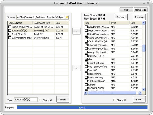 Daniusoft iPod Music Transfer Screenshot