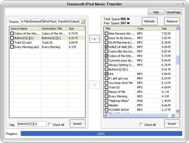 Daniusoft iPod Music Transfer Screenshot