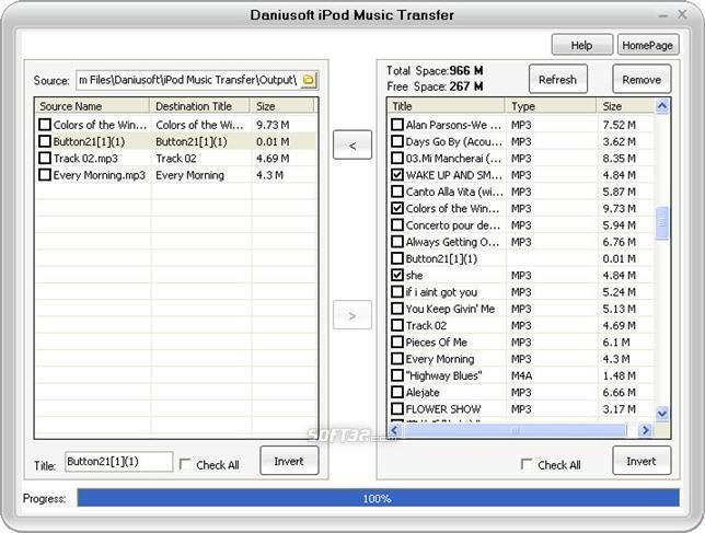 Daniusoft iPod Music Transfer Screenshot 2