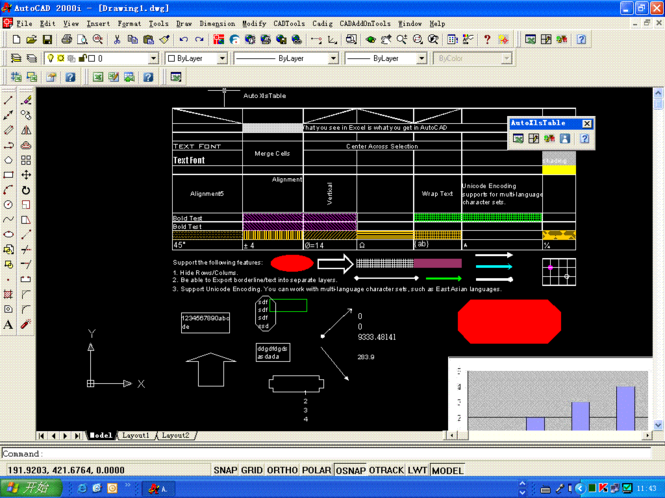 Create Excel Table in AutoCAD 2004 Screenshot