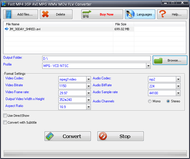 Fast MP4 3GP AVI MPG WMV RM MOV FLV Converter Screenshot 1