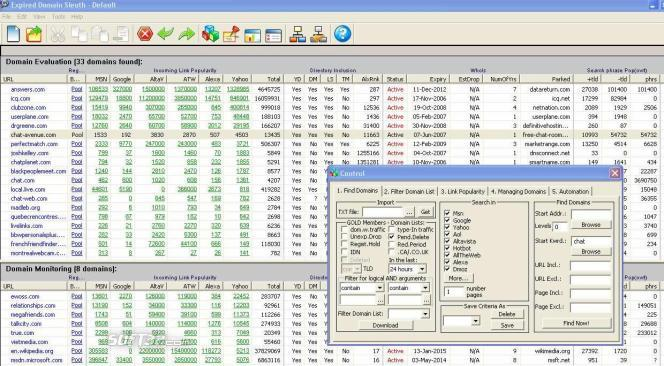Expire Domain List Software Screenshot