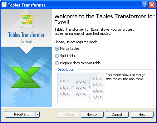 <b>Tables Transformer</b> for Excel Screenshot 1