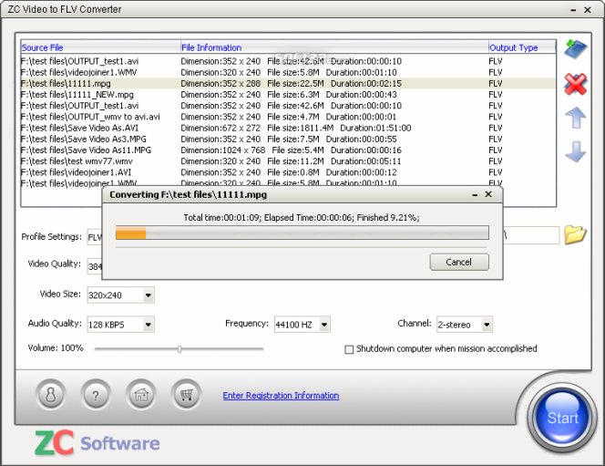 ZC Video to FLV Converter Screenshot 4