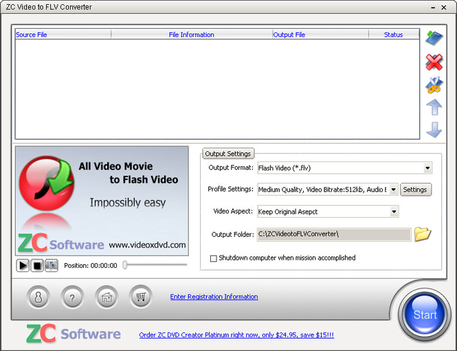 ZC Video to FLV Converter Screenshot 1