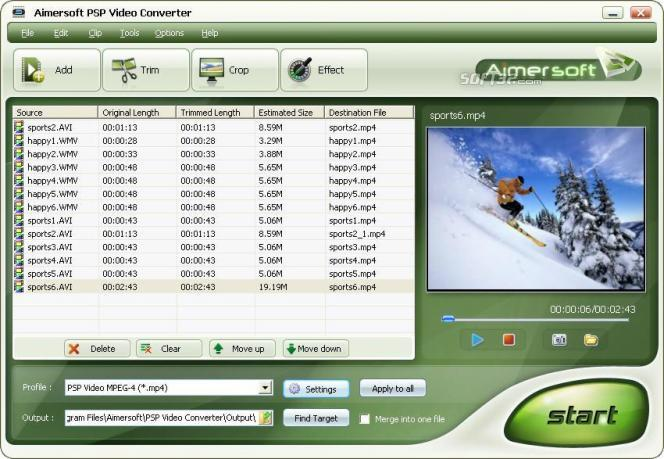 Aimersoft PSP Video Converter Screenshot