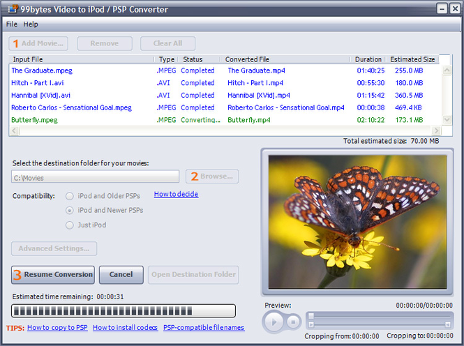 99bytes Video to iPod/PSP Converter Screenshot