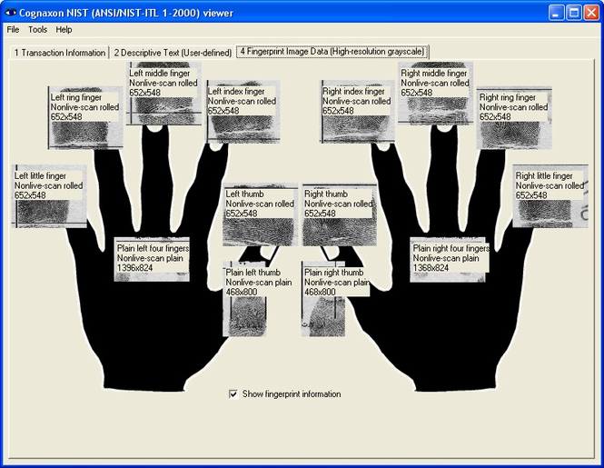 NIST (ANSI/NIST-ITL 1-2000) viewer Screenshot 1