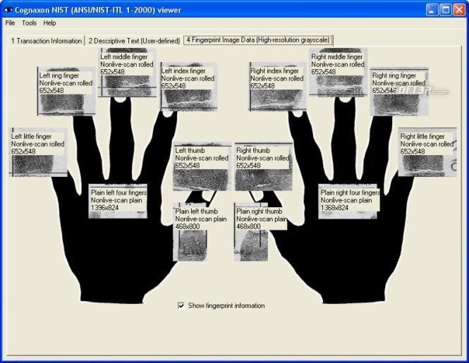 NIST (ANSI/NIST-ITL 1-2000) viewer Screenshot 2
