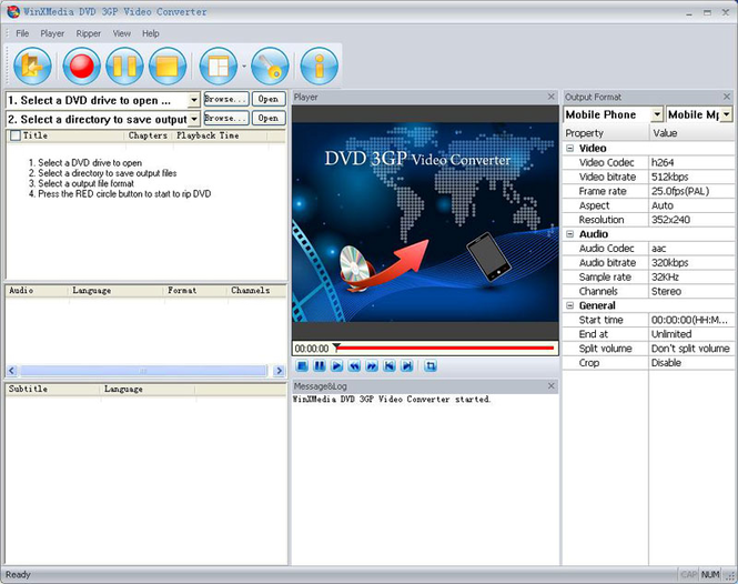 WinXMedia DVD 3GP Video Converter Screenshot 1