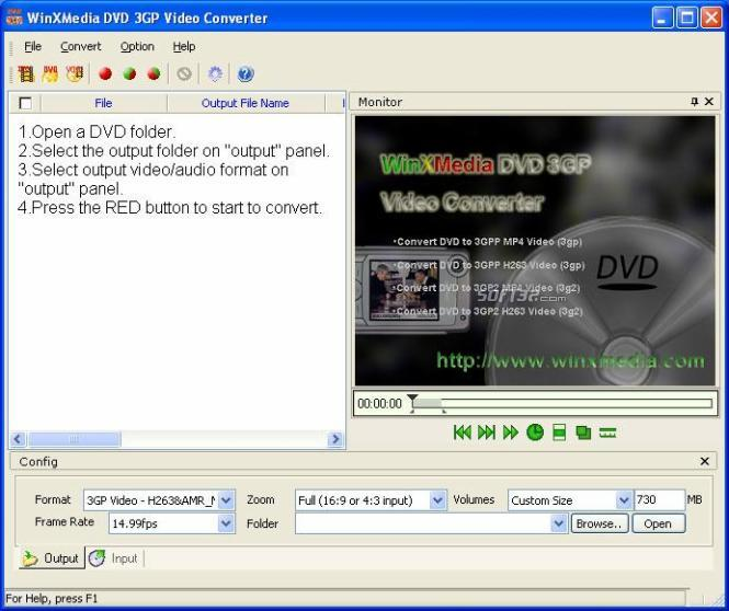 WinXMedia DVD 3GP Video Converter Screenshot 2