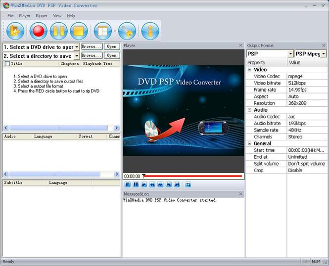 WinXMedia DVD PSP Video Converter Screenshot