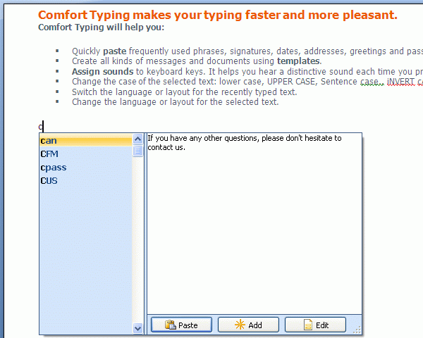 Comfort Templates Manager Screenshot 1