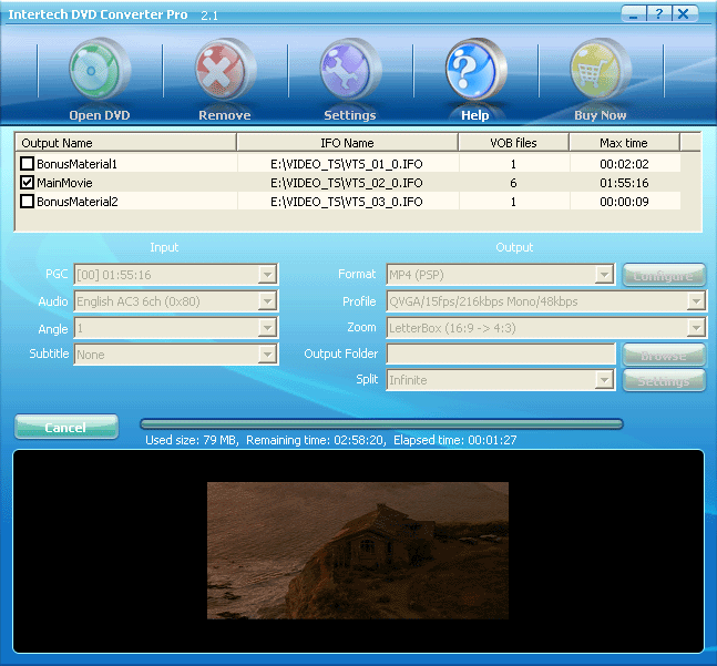 Intertech DVD to PSP Converter Screenshot