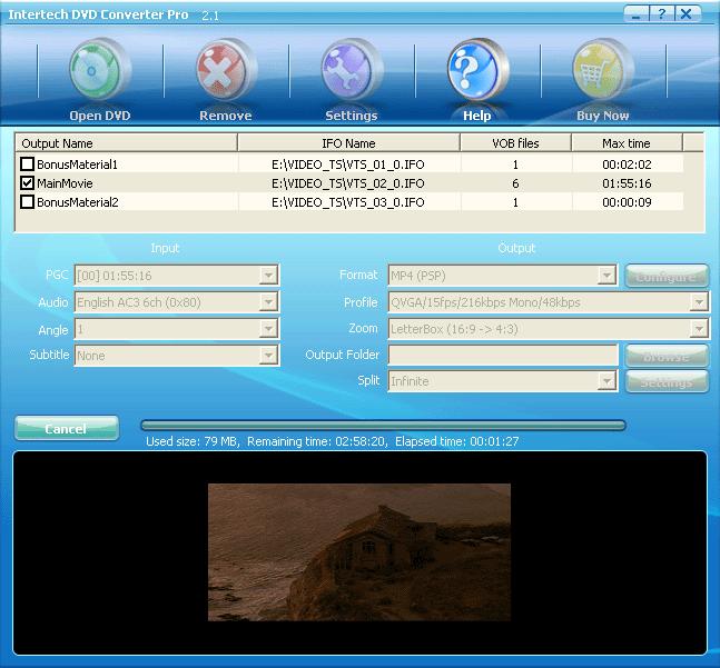 Intertech DVD to PSP Converter Screenshot 1