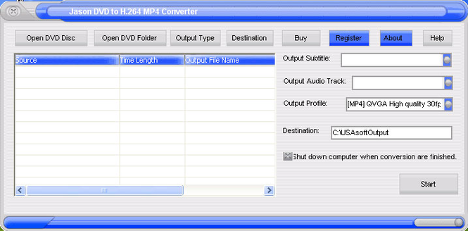 Jason DVD to H.264 Converter Screenshot 1