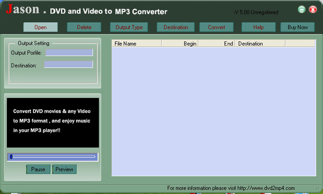 Jason DVD Video to MP3 Converter Screenshot